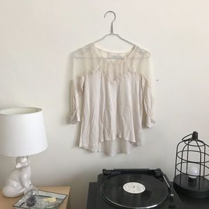 Urban Outfitters Cream Mesh Top
